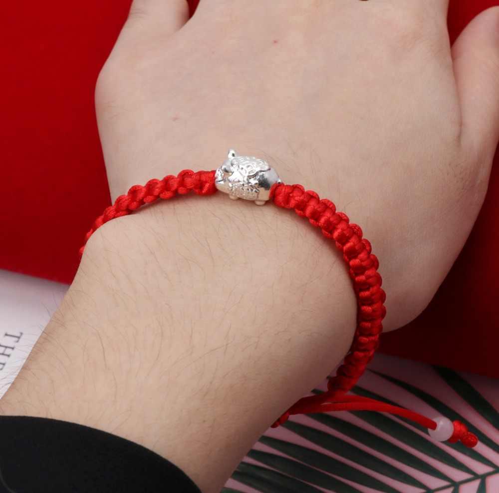 אופנה צמיד לנשים לשנה חדשה מזל עשיר חזיר אדום מחרוזת קלועה צמידי קבלה תכשיטים