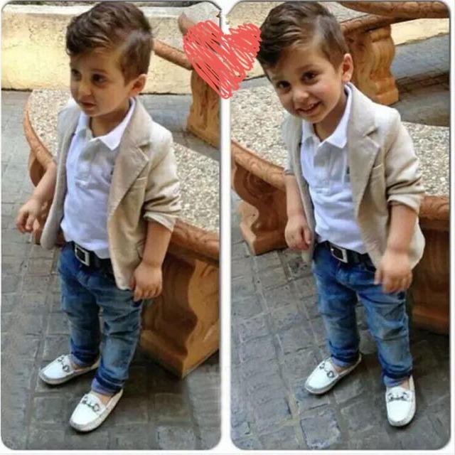 Terno Cavalheiro Menino moda Boutique Pure Color Casual Camisa Cáqui + Casaco + Calça Jeans Denim 3 Pçs/set