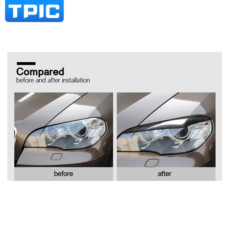 Image 3 - Carbon Fiber Headlights Eyebrows Eyelids for bmw x5 e70 Accessories Front Headlamp Eyebrows Car Styling-in Car Stickers from Automobiles & Motorcycles