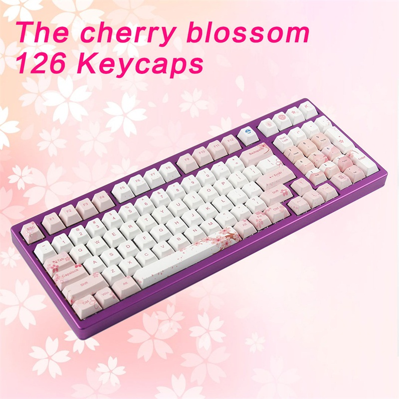 kbdfans new arrival Five surface sublimation sakura keycaps 126keys for mechanical keyboard mx cherry switch