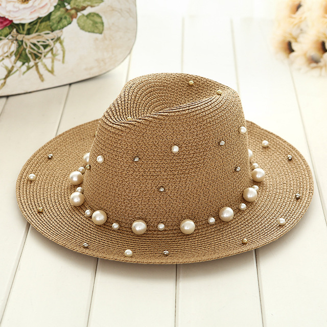 Summer British  pearl beading flat brimmed straw hat Shading sun hat Lady outdoor beach hat Jazz hat