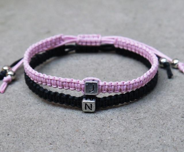 Initials bracelet,initials couples bracelet,Lovers bracelet, Couples Bracelets,Bridesmaid Jewelry, Friendship Graduation Gifts