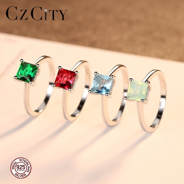 CZCITY Emerald Simple Female Zircon Stone Finger Ring 925 Sterling Silver Women Jewelry Prom Wedding Engagement Rings Brand Gift 4