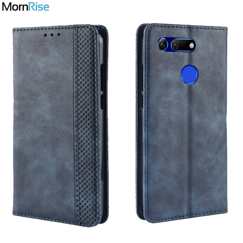 For Huawei Honor View 20 Case Book Wallet Vintage Slim Magnetic Leather Flip Cover Card Slot Stand Soft Cover Luxury Phone Bags