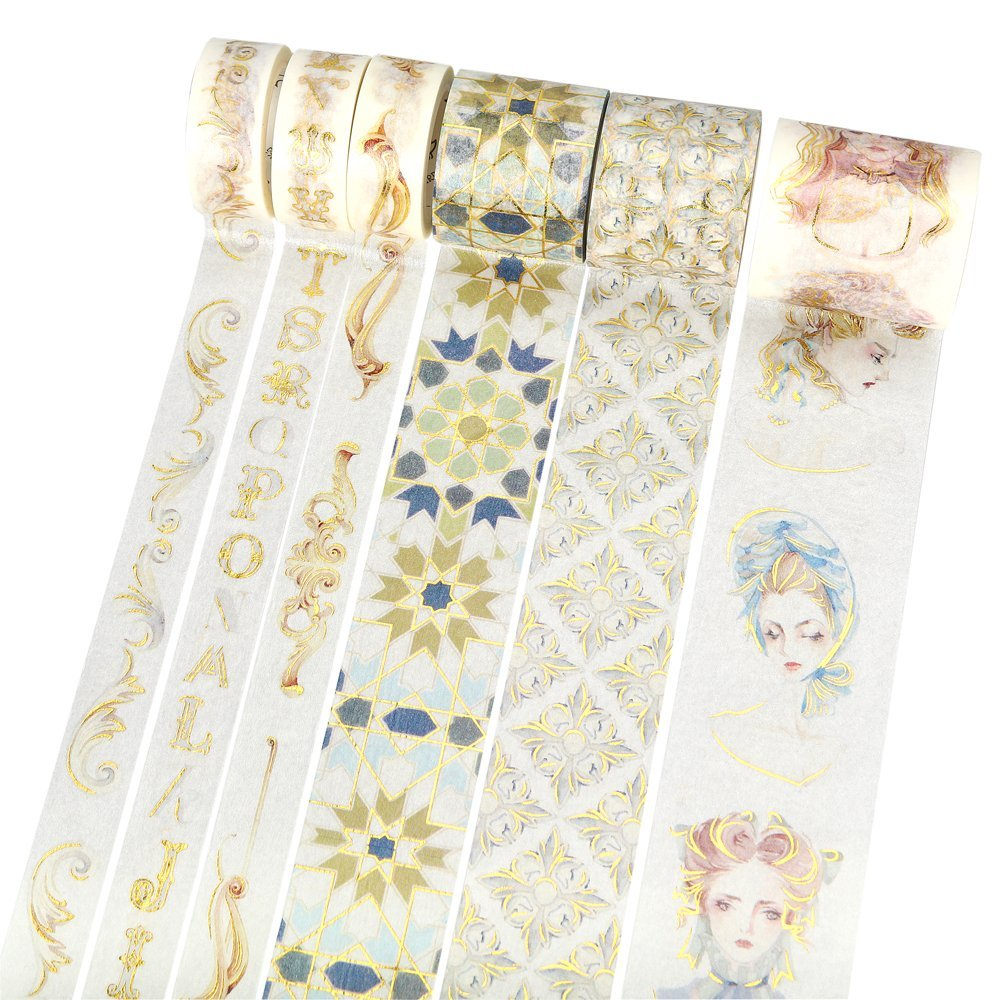 12 Rococo Stamping Series Foil Gold Washi Tape DIY Decoration Scrapbooking Planner Masking Tape Adhesive Tape DIY Arts & Crafts