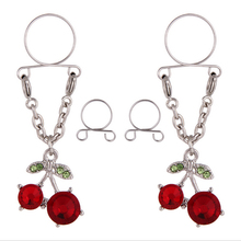 Cherry Non pierced Clip On Nipple Ring Women Nipple Crystal Fake Nipple Shield With Tassel Dangle Adjustable Sexy Body Jewelry