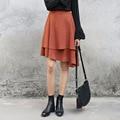 Yichaoyiliang Asymmetrical Layered Skirt High Waist Pleated Knee Length Skirt Vintage Girls Skirts 2017 Spring Black Midi Skirt
