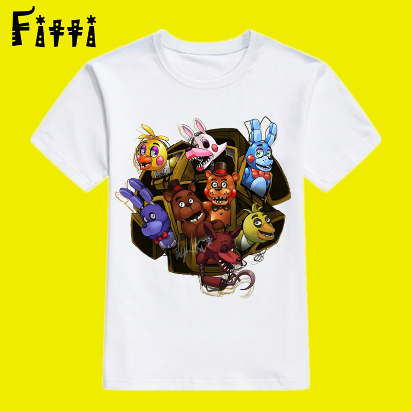 Five-night-at-freddy Cartoon Movie Funny Cute T Shirt for Boy,kid Five Night at Freddy Comic Short Sleeve O Neck T-shirt brief scoop neck short sleeve solid color asymmetric design t shirt for women