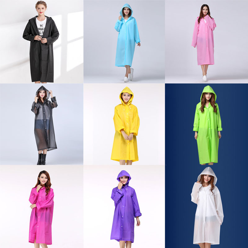 Women Hooded Semitransparent Raincoat EVA Waterproof Poncho Long Sleeve Coat H9
