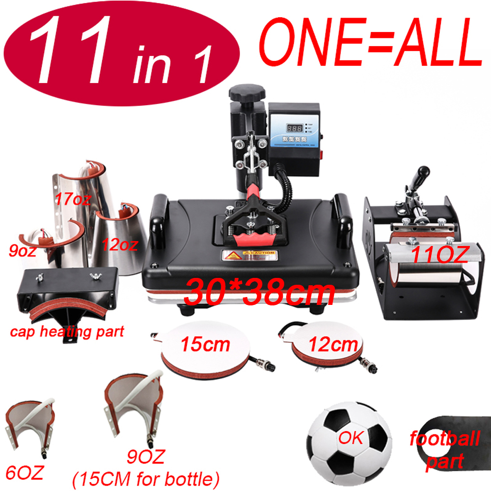 11 In 1 Heat Pen Press Machine,Sublimation Printer/football Transfer Machine Heat Press For Mug/Cap/T Shirt/bottle/pen/volleybal