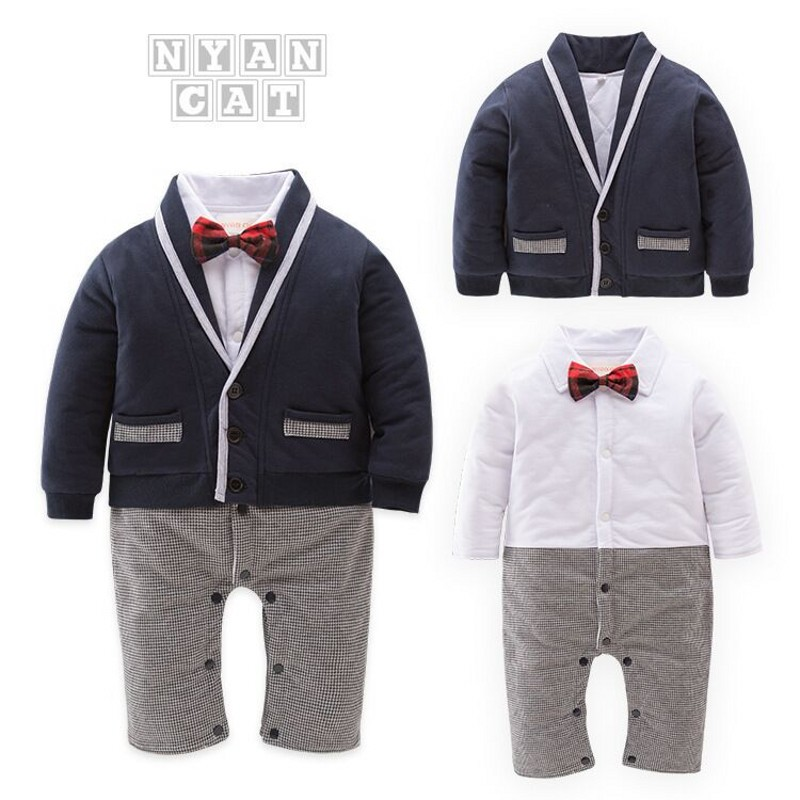 Nyan Cat 2019 Baby boy romper Autumn Winter 2pcs Gentlemen Clothing Set Red Tie Romper+Jacket 2019 Cool fashion New Style