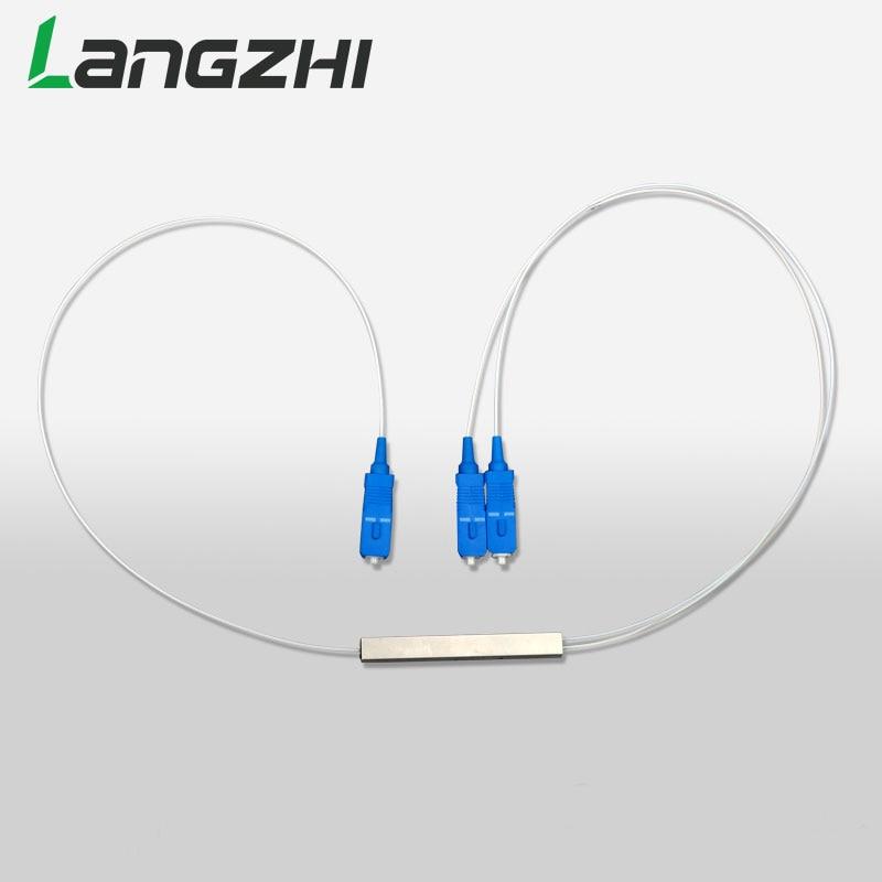 10 pièces/sac MINI PLC 1X2 séparateur de Fiber optique monomode FTTH PLC tube d'acier type SCUPC 1x2 PLC séparateur de fibre optique