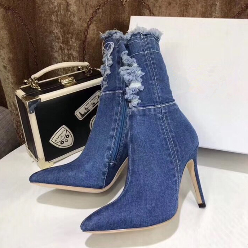Blue Black Denim Women Ankle Boots Fashion Pointed Toe Stiletto High Heels Pumps quality tight High jeans boots zapatos de mujer