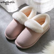 WHOHOHLL Women Winter Warm Fur Slippers Cotton Sheep Lovers Home Indoor Plush Size House Shoes Woman