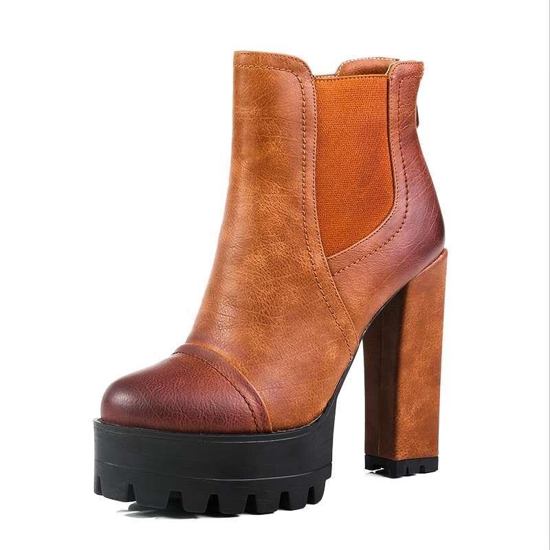 Sıcak satış Kadınlar Motosiklet Boots Gladyatör Tıknaz Yüksek Topuklu Ilkbahar Sonbahar Açık Ayakkabı Platformu Kar Tarzı Ayak Bileği Çizmeler