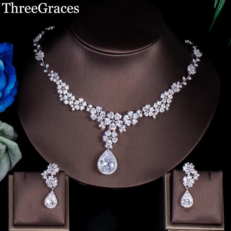 ThreeGraces Luxury Bridal Wedding Big Flower Drop Earrings And Necklace AAA+ Cubic Zirconia Jewelry Set For Brides JS033ThreeGraces Luxury Bridal Wedding Big Flower Drop Earrings And Necklace AAA+ Cubic Zirconia Jewelry Set For Brides JS033