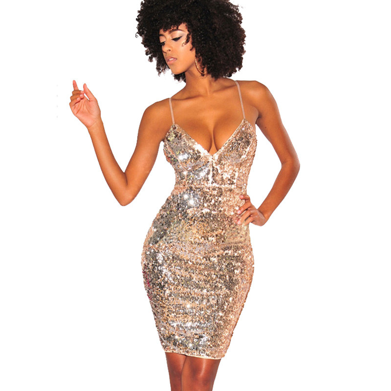 <font><b>2018</b></font> Womens Gold Sequin <font><b>Dress</b></font> <font><b>Sexy</b></font> V-neck Backless Spaghetti Strap Bodycon Slip <font><b>Dress</b></font> <font><b>Luxury</b></font> Party Club Wear Sparkly Mini <font><b>Dress</b></font> image