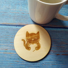 4pcs/set Wood Cat Coaster Kitchen Christmas Nonslip Place Table Mat Decoration For Home Cup Drink Tea Coffee Pet Lover Gift