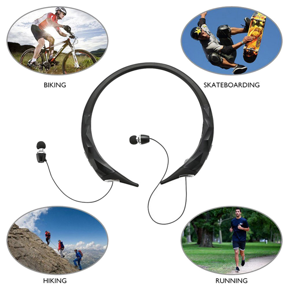 2017 Retractable Wireless Sports Neckband Earphones Wireless Bluetooth Headphones Stereo Mic Noise Reduction HD Sound Headset