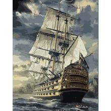 Diy pintura by números pintados a mano pinturas al óleo lienzo barco grande pared de la sala de arte de la lona pinturas de decoración decoración de la pared