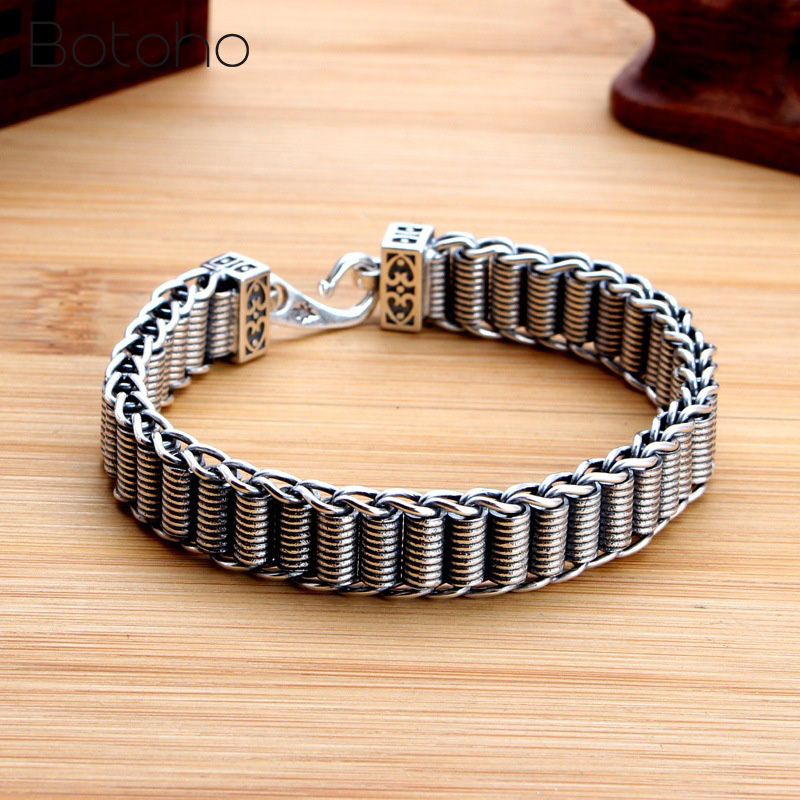 100% Sterling Silver 925 Men Women Bracelet Width 11.5mm Vintage Punk Rock Handwoven Bracelets Thai Silver Fashion Jewelry Gifts 925 bracelet silver sterling men vintage punk rock wire chain chain and bracelet thai silver jewelry charm men s bracelets 2018