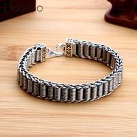 100% Sterling Silver 925 Men Women Bracelet Width 11.5mm Vintage Punk Rock Handwoven Bracelets Thai Silver Fashion Jewelry Gifts