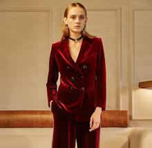 Great quality 2017 Gold velvet suits Women's fashion slim double-breasted wine red velvet suit jacket female blazer clothing