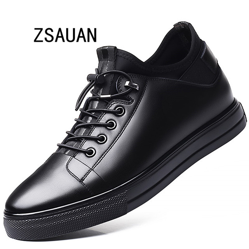 ZSAUAN 5 / 7 CM Elevator Men Leather Shoes Invisible Height Increased Lace-up Young Men Casual Men Trend Sneakers Mens Loafers