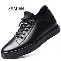 Zsauan 5/7 cm elevador homem sapatos de couro invisível altura aumentada laço-up jovens casuais homens tendência tênis mocassins
