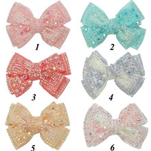 """12 Pieces/lot 4"""" Plain Rhinestone Hair Bows With Black Clips For Kids Girls Boutique Crystal Bows Hairgrips Hair Accessories"""