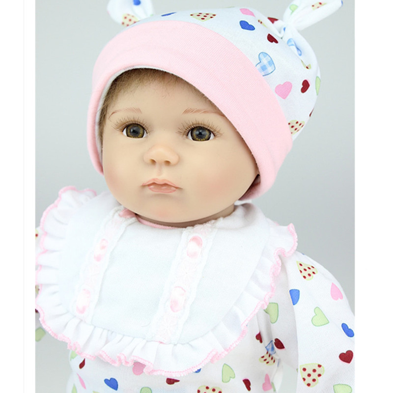 16''/40 cm  Silicone Reborn Baby Dolls with Clothes,Lifelike Baby Reborn Doll Toys for Children Present short curl hair lifelike reborn toddler dolls with 20inch baby doll clothes hot welcome lifelike baby dolls for children as gift
