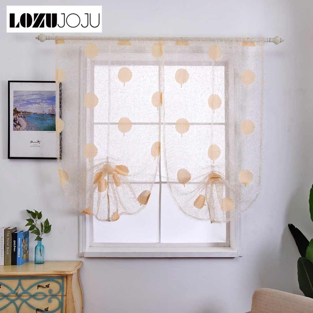 LOZUJOJU Plants leaves pattern curtains short roman drops with hook for kitchen windows pastoral panel rustic decoration fabric