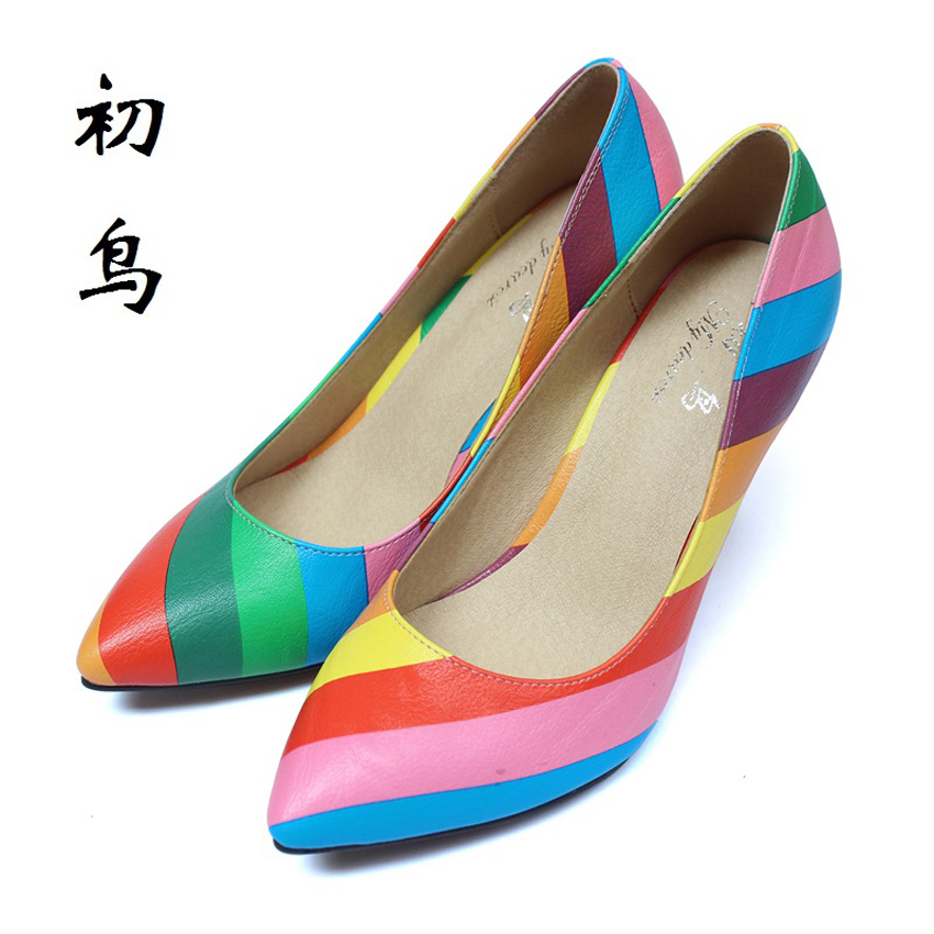2017 Size 33-41 Fashion Multicolor Sexy Pointed Toe High Heels Talon Women Pumps Ladies Shoes Woman Chaussure Femme 34 40 new 2017 spring summer women shoes pointed toe high quality brand fashion womens flats ladies plus size 41 sweet flock t179