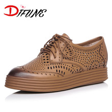 Free shipping new fashion LAce-up Women's cut-outs retro brogue shoes girl's Flats real cowhide genuine leather flats for female