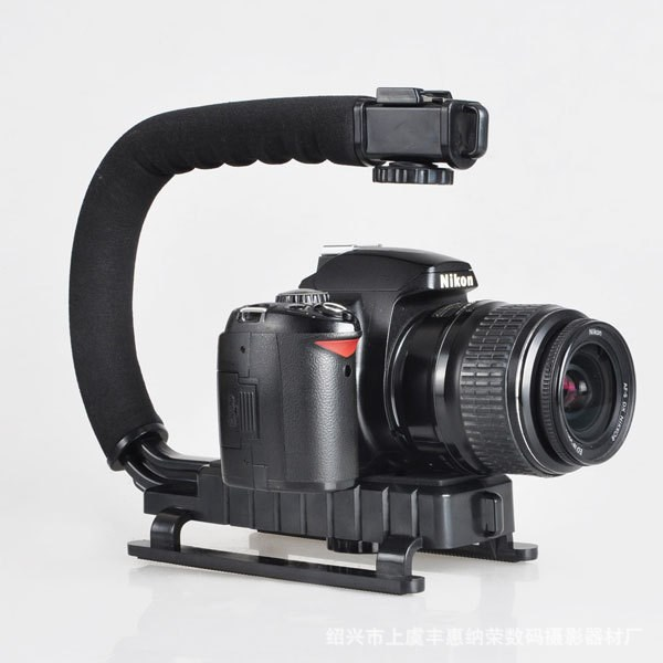 C Shape flash Bracket holder Video Handle Handheld Stabilizer Grip for DSLR SLR Camera Phone Gopro