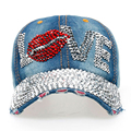 New Arrival Hot Women's Diamonds Caps 100% Manual Drill High Quality Baseball Caps Fashion LOVE Letters Girls' Denim Hats SY543