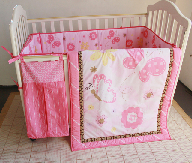 Promotion! 5pcs Embroidery Baby Bedding Sets Children Crib Bedding Set ,include (bumpers+duvet+bed cover+bed skirt+diper bag)