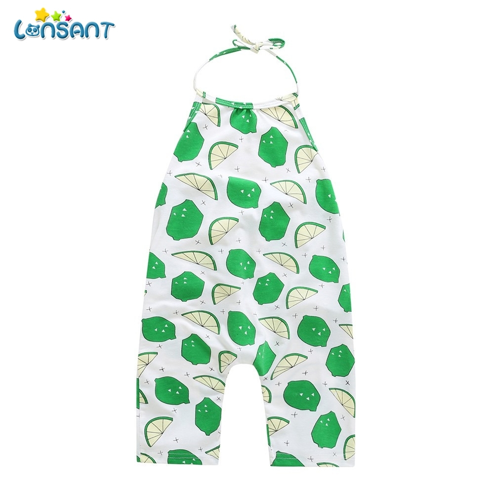 Girls Rompers Fruit Lemon Print Sleeveless Sling Jumpsuit Kids Girls Bandage Baby & Toddler Clothing