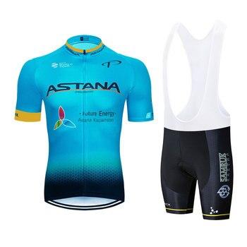 2019 Astana Cycling Jersey Camisa Quick Dry Mens azul Bicicleta Da Bicicleta Da Equipe Pro Ciclismo Jerseys Roupas 16D Bicicleta Shorts Set