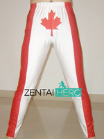 ZentaiHero Custom Size Lycra Dress Up Fancy Pants Sexy CA Flag Design White And Red Wrestling