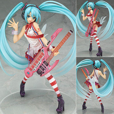 Free Shipping 8 Anime Vocaloid Hatsune Miku Greatest Idol Guitar Ver. Boxed 20cm PVC Action Figure Collection Model Doll Toy free shipping new cosplay pretty hatsune miku water blue miku cos wigs