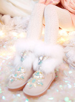 Luxury Fox Fur Gemstone Woman Boots Flat Round Toe Short Plush Ankle Snow Shoe Female Sequins Booties Leather Warm Snow Crystal