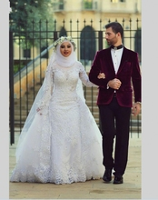 Muslim Wedding Dress With Hijab Detachable Train 2016 Long Sleeve Lace Tulle Beaded Flowers Dubai Arabic Bride Bridal Gowns
