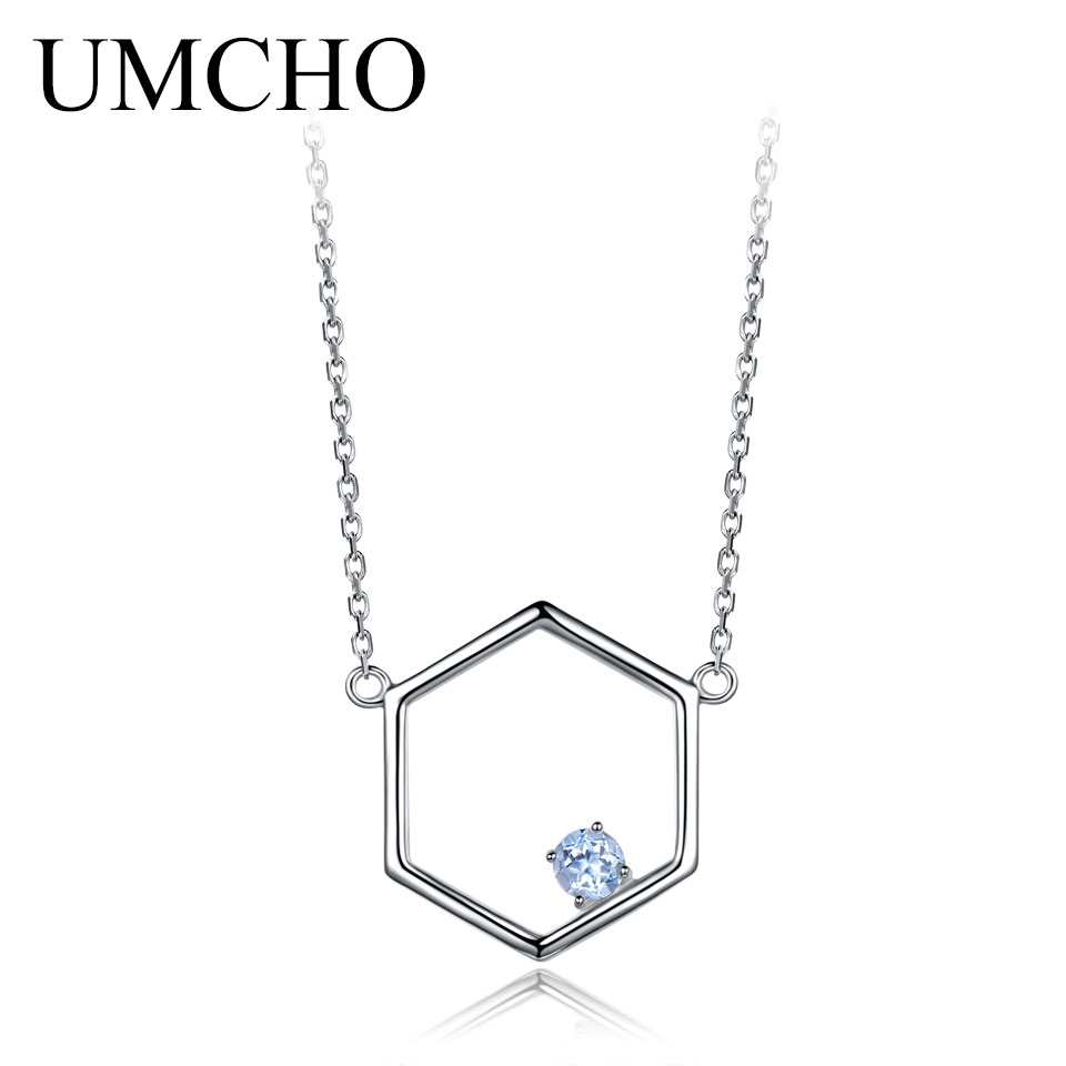 Natural Sky Blue Topaz Real 925 Sterling Silver Necklaces For Women Various Gemstone 925 Silver Jewelry Mothers D Gift