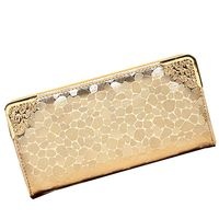 2014 New Style Famous Brand Wallet Women Purse Stone Grain Gold Silver Black Color PU Leather