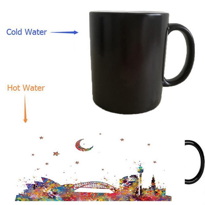 Sydney Australia Mugs Heat Changing Color Reveal Mugen Magic Mug Tea Coffee Ceramic Novelty In From Home Garden On Aliexpress