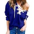 Women Hoodies Sweatshirt Bandage V Neck hooded Harajuku Hoodies Long Sleeve Loose Solid Tops Plus Size  LJ5749M