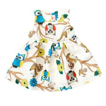 aee5a9599 New Baby Girls Dress Cotton Owl Print Sleeveless Dress For Girl Kids ...