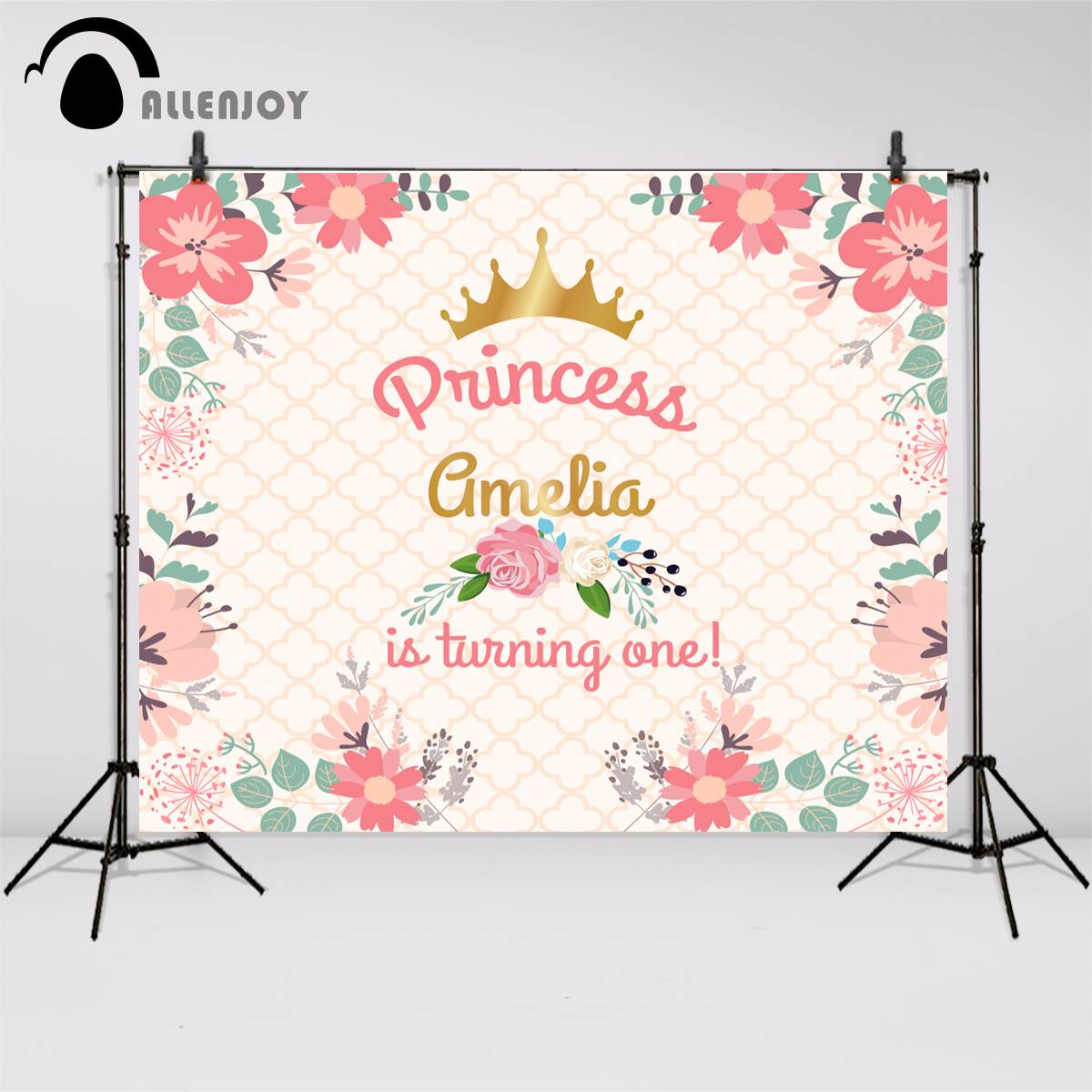 Allenjoy font b camera b font photography Baby Birthday Background Crown Flowers Custom Pink adorable font
