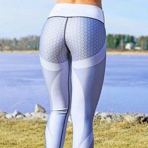 Women Mesh Pattern Print Leggings Gym Fitness Outdoor Sports High Waist Elastic Slim Black Gray Splicing Leggins Trend Lady